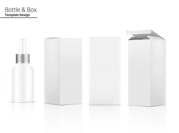 Błyszcząca butelka z kroplomierzem realistyczne kosmetyki i trójwymiarowe pudełko do wybielania produktów do pielęgnacji skóry i starzenia się produktów przeciwzmarszczkowych. opieka zdrowotna i medycyna.