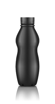Błyszcząca czarna plastikowa butelka po jogurcie z makieta nakrętka na białym tle