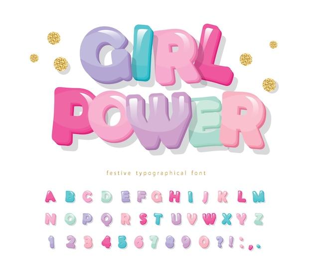 Błyszcząca czcionka kreskówka. ładny alfabet dla dziewczynek