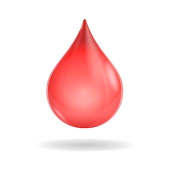 Błyszcząca czerwona kropla krwi na białym tle