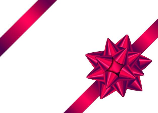 Błyszcząca czerwona satynowa wstążka prezentowa i kokardka do wystroju rogu strony.