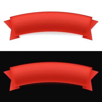 Błyszcząca czerwona wstążka na białym i czarnym tle