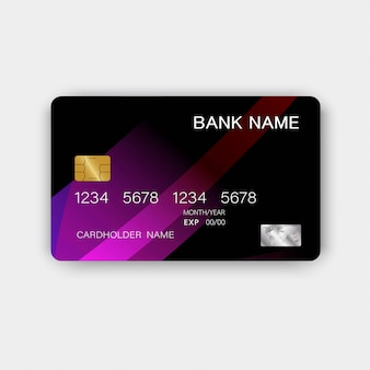 Błyszcząca fioletowa plastikowa luksusowa karta kredytowa