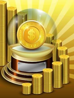 Błyszcząca kula ze złotymi znaczkami monet ze stosem złotych monet
