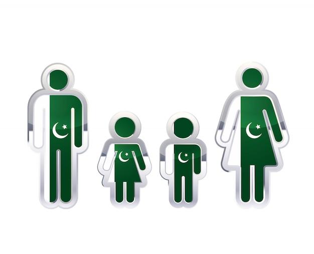 Błyszcząca metalowa odznaka ikona w kształcie mężczyzny, kobiety i dzieci z flagą pakistanu, element infografikę na białym tle