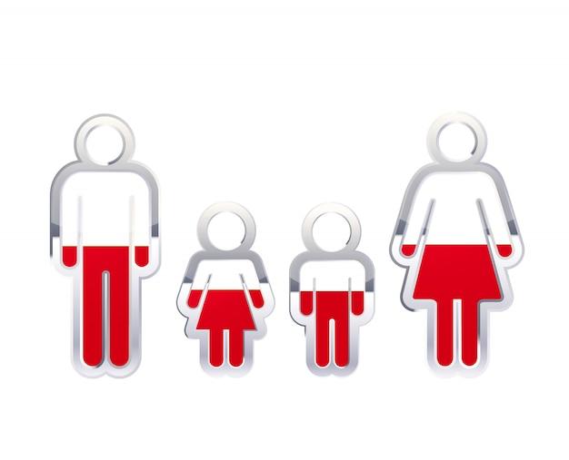 Błyszcząca metalowa odznaka ikona w kształcie mężczyzny, kobiety i dzieci z flagą polski, element infographic na białym tle