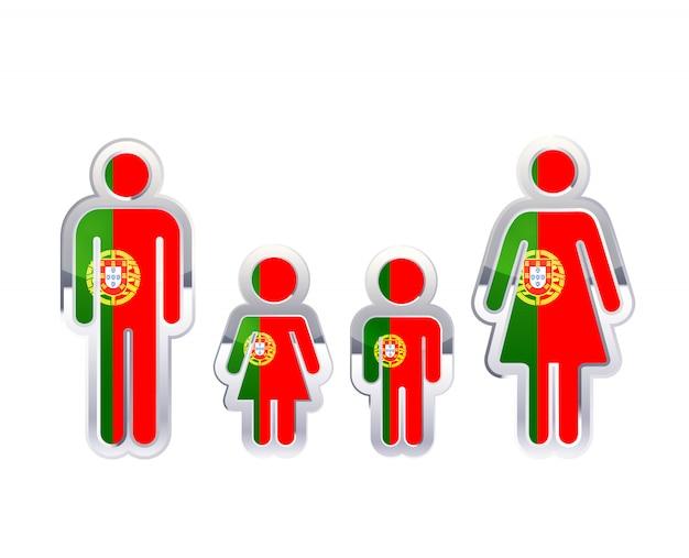 Błyszcząca metalowa odznaka ikona w kształcie mężczyzny, kobiety i dzieci z flagą portugalii, plansza elementu na białym tle