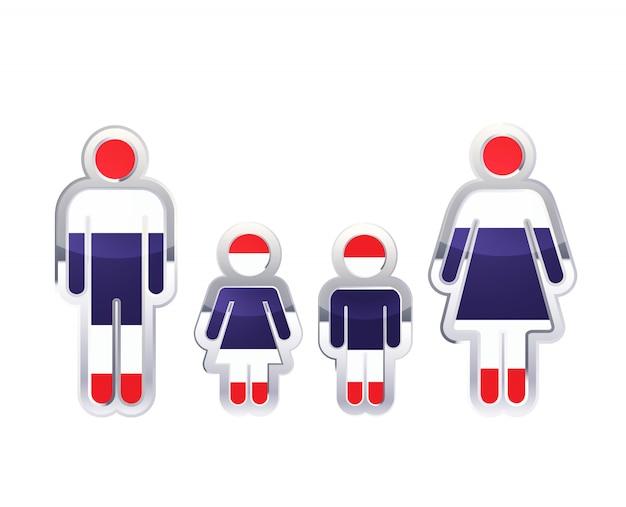 Błyszcząca metalowa odznaka ikona w kształtach mężczyzny, kobiety i dzieci z flagą tajlandii, plansza element na białym tle