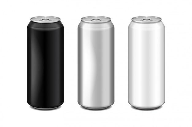 Błyszcząca metalowa srebrna, biała i czarna aluminiowa puszka na piwo. może być stosowany do alkoholu, napojów energetyzujących, napojów bezalkoholowych, napojów gazowanych, napojów gazowanych, lemoniady, coli. realistyczny zestaw szablonów