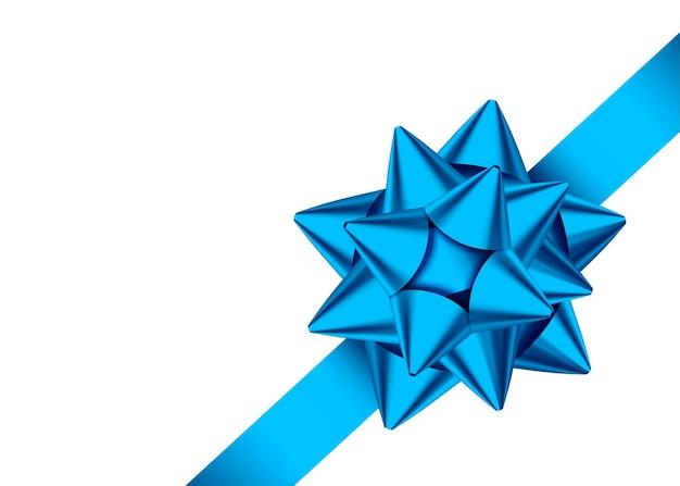 Błyszcząca niebieska ozdobna wstążka prezentowa i kokardka