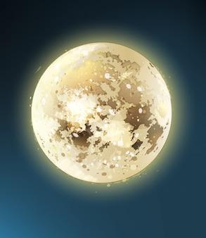 Błyszcząca noc w pełni księżyca. ilustracje ciemnoniebieskiego nieba