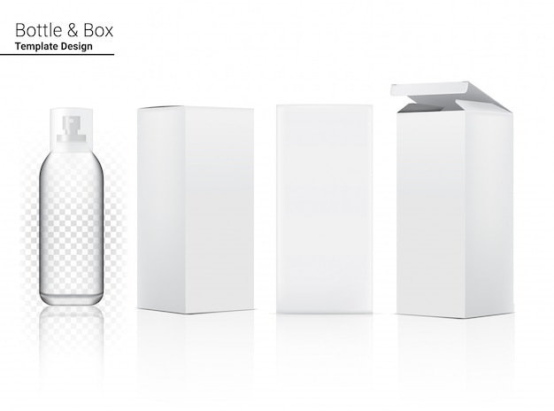 Błyszcząca przezroczysta butelka z rozpylaczem puste realistyczne pudełko kosmetyczne i 3d do wybielania produktów do pielęgnacji skóry i starzenia się przeciwzmarszczkowym.