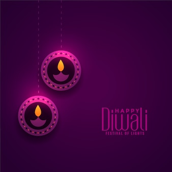 Błyszcząca purpurowa diwali dekoraci festiwalu lampowa ilustracja