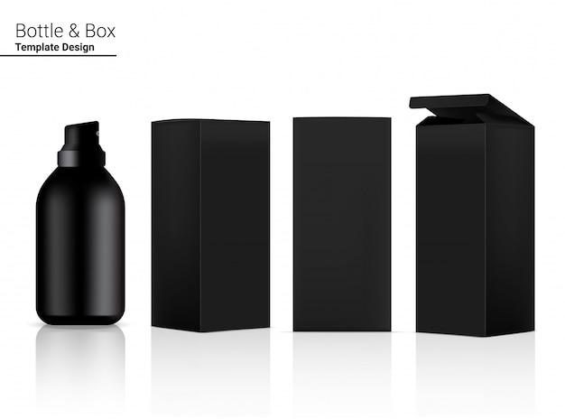 Błyszcząca pusta butelka z realistycznym kosmetykiem i pudełko 3d do wybielania produktów do pielęgnacji skóry i starzenia się przeciwzmarszczkowym.