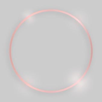Błyszcząca ramka ze świecącymi efektami. różowe złoto okrągłe ramki z cieniem na szarym tle. ilustracja wektorowa