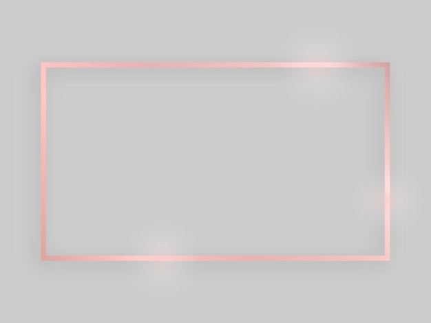 Błyszcząca ramka ze świecącymi efektami. różowe złoto prostokątna ramka z cieniem na szarym tle. ilustracja wektorowa