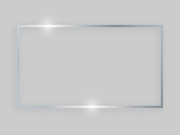 Błyszcząca ramka ze świecącymi efektami. srebrna ramka prostokątna z cieniem na szarym tle. ilustracja wektorowa