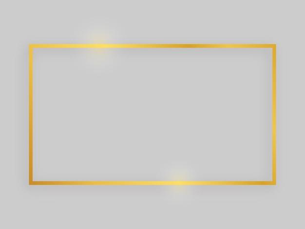 Błyszcząca ramka ze świecącymi efektami. złota prostokątna rama z cieniem na szarym tle. ilustracja wektorowa