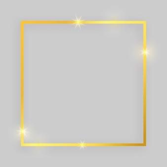 Błyszcząca ramka ze świecącymi efektami. złota rama kwadratowa z cieniem na szarym tle. ilustracja wektorowa