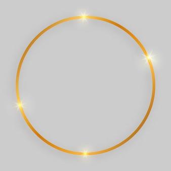 Błyszcząca ramka ze świecącymi efektami. złota rama okrągła z cieniem na szarym tle. ilustracja wektorowa