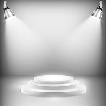 Błyszcząca scena oświetlona reflektorami