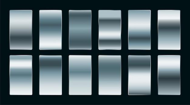 Błyszcząca stal lub srebrne gradienty ustawione w matowym wykończeniu