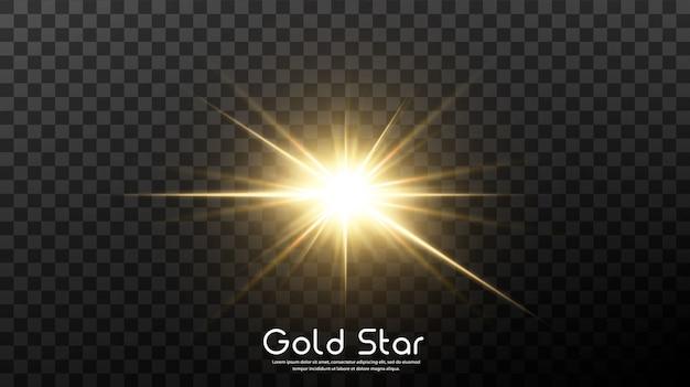 Błyszcząca złota gwiazda odizolowywająca