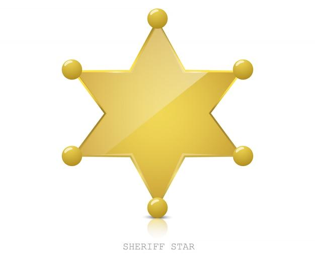 Błyszcząca złota gwiazda szeryfa