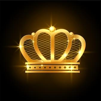 Błyszcząca złota korona premium dla króla królewskiego lub królowej