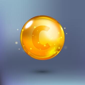 Błyszcząca złota kropla koła esencji. ilustracja