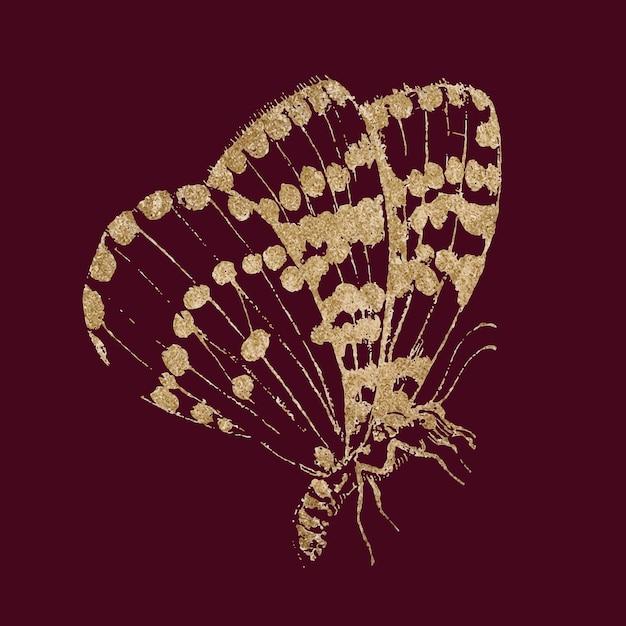 Błyszcząca złota naklejka ze zwierzętami motyli