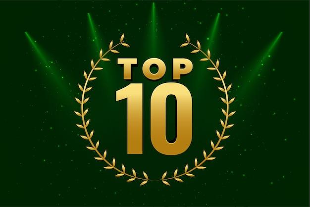 Błyszczące 10 najlepszych nagród złote tło