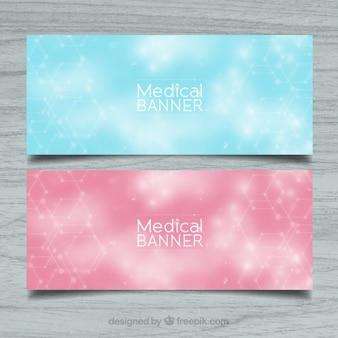 Błyszczące banery medycznych w stylu abstrakcyjna