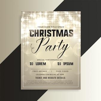 Błyszczące christmas party zaproszenie ulotki z błyszczy