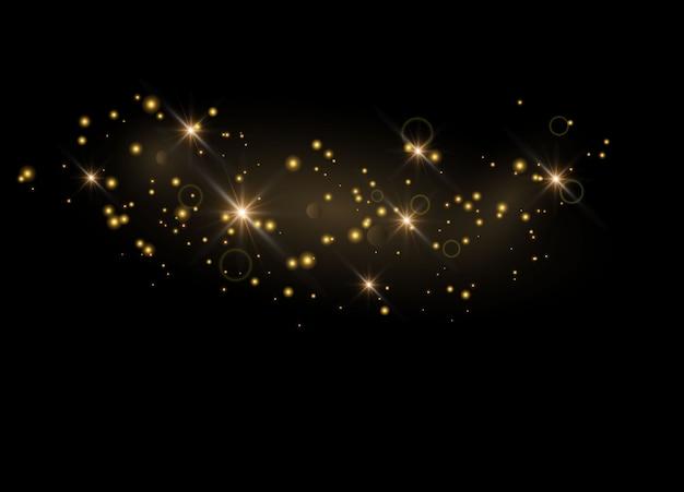 Błyszczące cząsteczki czarodziejskiego pyłu. iskry błyszczą specjalny efekt świetlny.