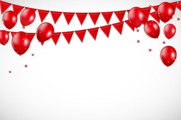 Błyszczące czerwone balony i flaf tło