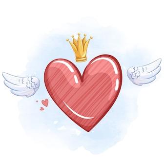 Błyszczące czerwone serce ze skrzydłami i złotą koroną.
