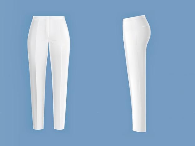 Błyszczące, czyste, białe spodnie damskie