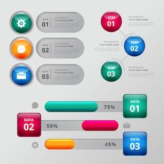 Błyszczące elementy infografikę zestaw szablonów