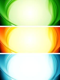 Błyszczące faliste abstrakcyjne banery. ilustracja wektorowa
