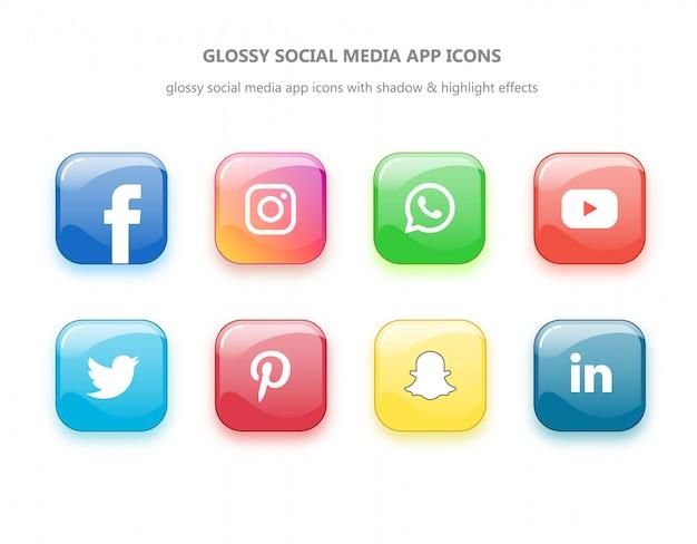 Błyszczące ikony aplikacji społecznościowych z efektami wysokości i tłoczenia
