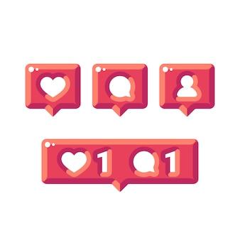 Błyszczące ikony mediów społecznościowych powiadomienia płaskie. ikony sympatii, komentarzy i obserwujących