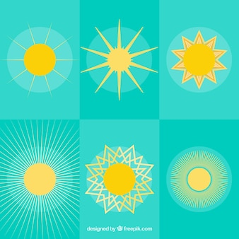Błyszczące ikony słońce