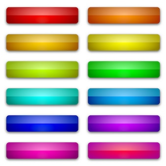 Błyszczące internetowych przyciski z cieniem. jasne przyciski na białym tle