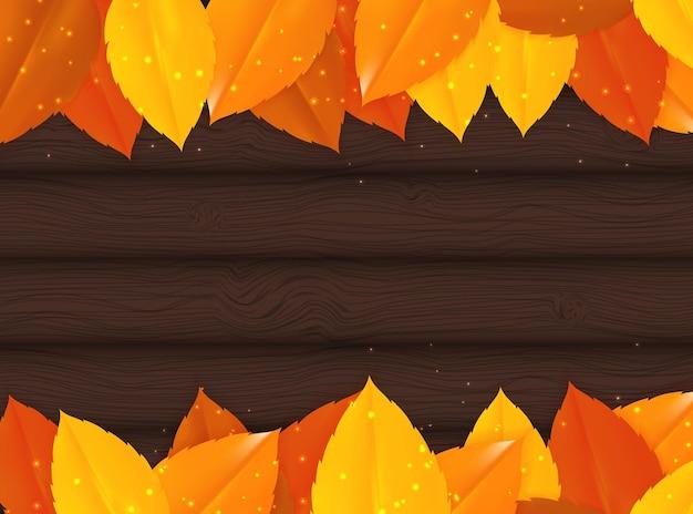 Błyszczące jesienne liście naturalne tło. ilustracja wektorowa eps10
