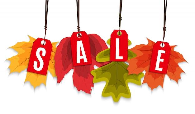 Błyszczące jesienne liście sprzedaż transparent. biznesowa karta rabatowa
