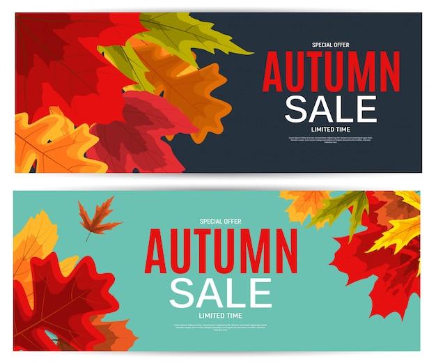 Błyszczące jesienne liście sprzedaż transparent. biznesowa karta rabatowa.