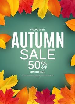 Błyszczące jesienne liście sprzedaż transparent.