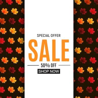 Błyszczące jesienne liście sprzedaży transparent. firmowa karta rabatowa. ilustracja