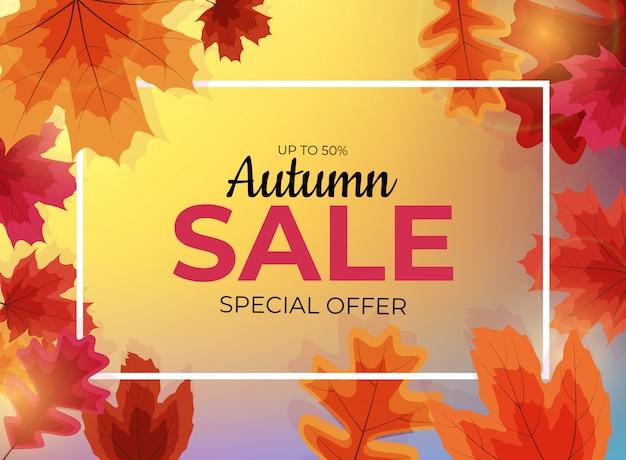 Błyszczące jesienne liście sprzedaży transparent.
